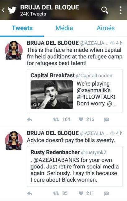 Azealia Banks : Insultes homophobes et racistes contre Zayn Malik et plusieurs autres artistes sur Twitter