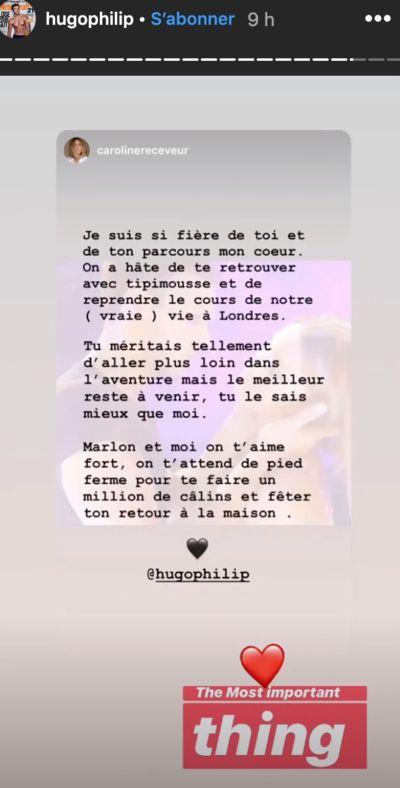 """Hugo Philip : le curieux message de Caroline Receveur après son élimination de """"Danse avec les stars""""."""