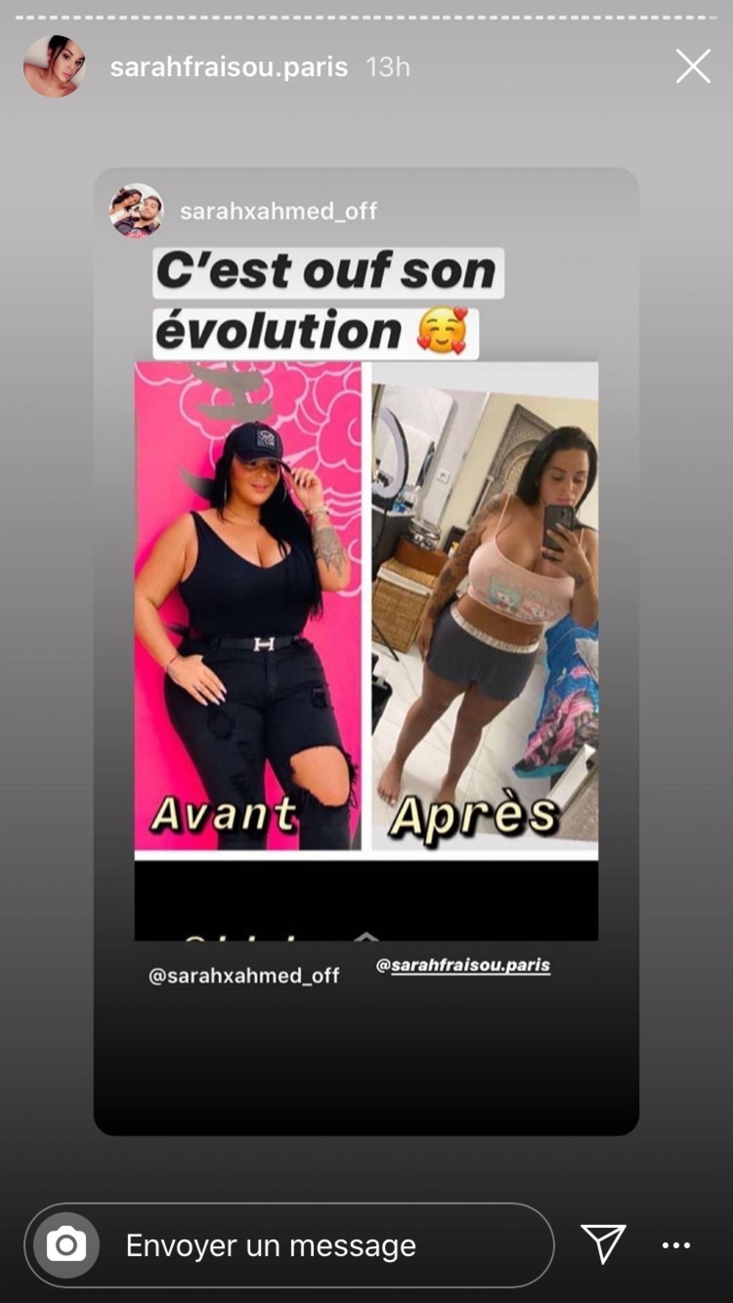 Sarah Fraisou : elle dévoile un avant-après régime sur Instagram et le résultat est surprenant