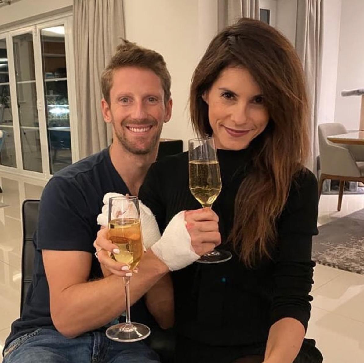 Romain Grosjean et Marion Jollès après l'accident @Instagram