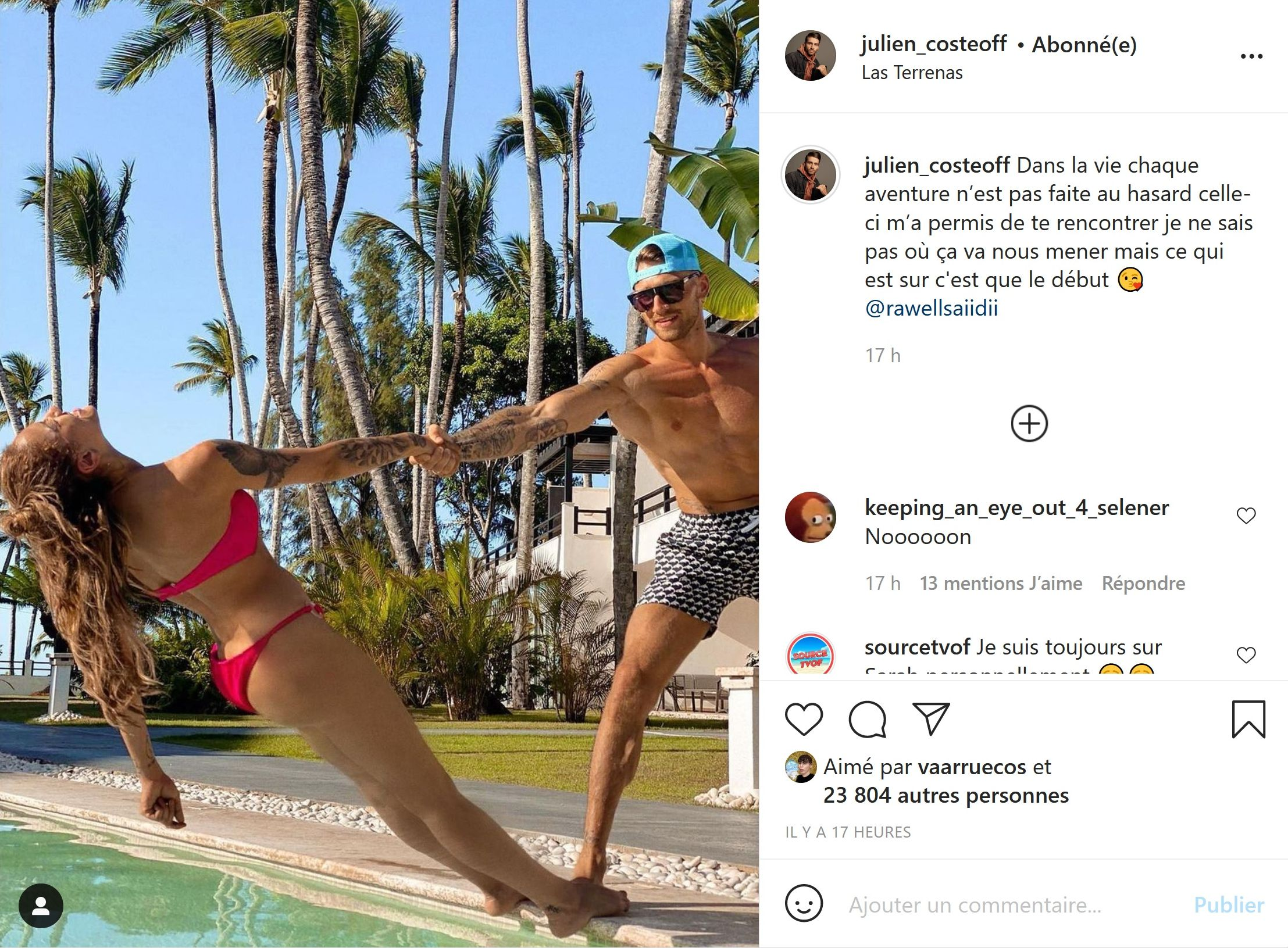 Julien Coste (LVDA4) fait une belle déclaration à Rawell sur son compte Instagram