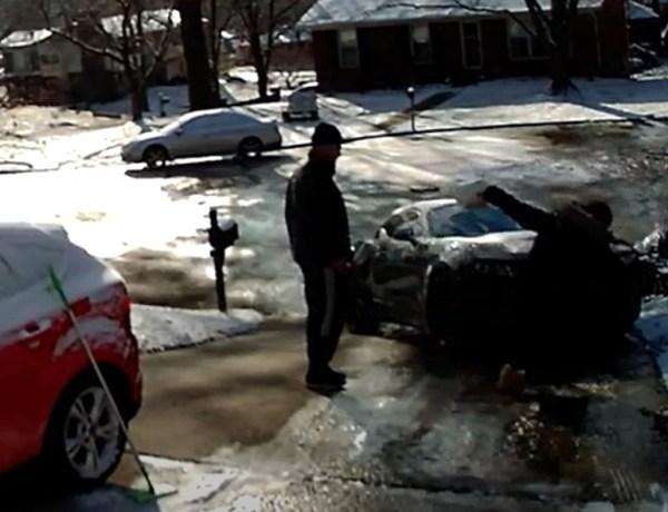 Une femme glisse sur une plaque de glace : Découvrez l'étrange réaction de son mari