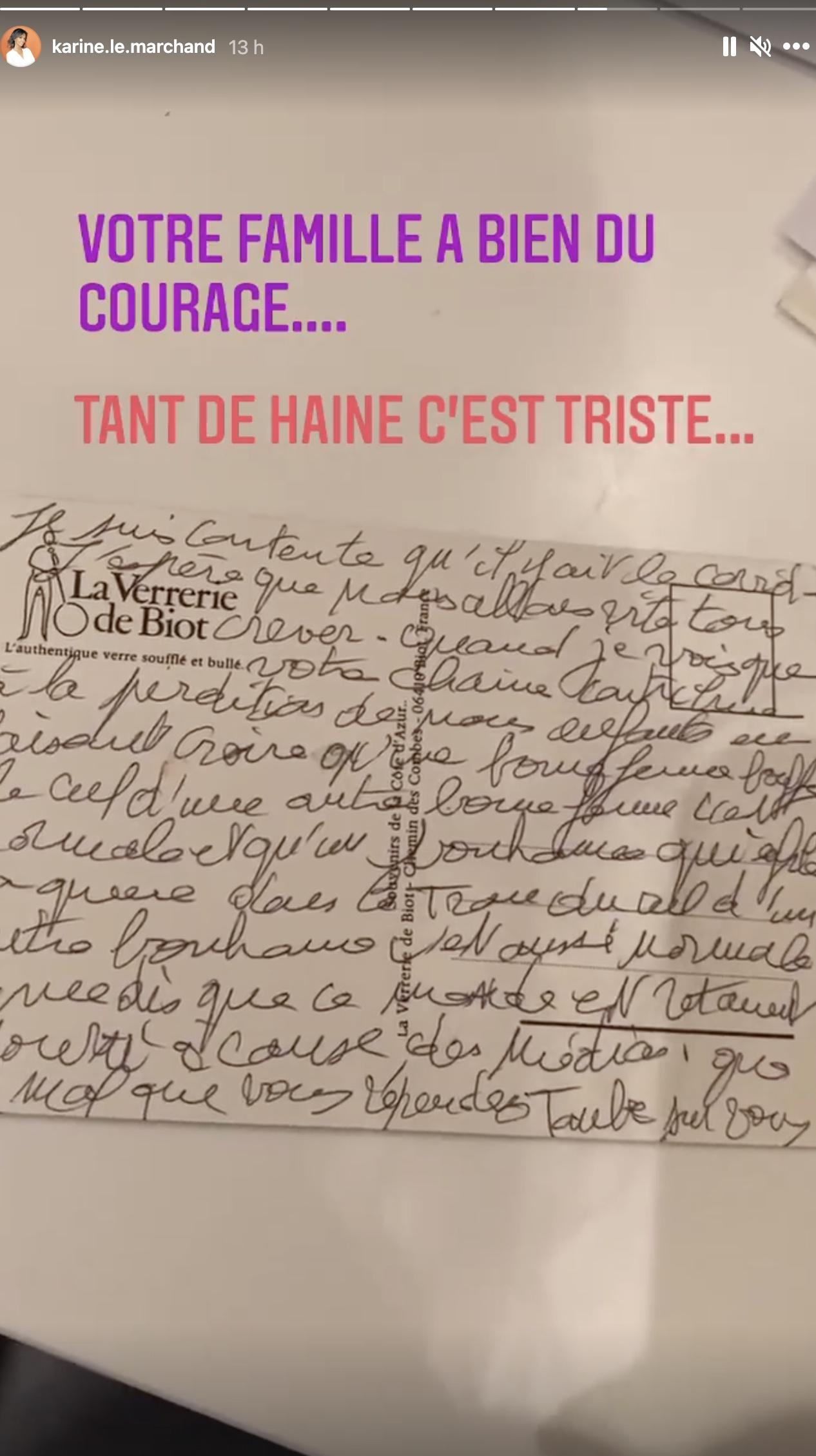 Karine Le Marchand reçoit une lettre choquante contenant des propos homophobes!