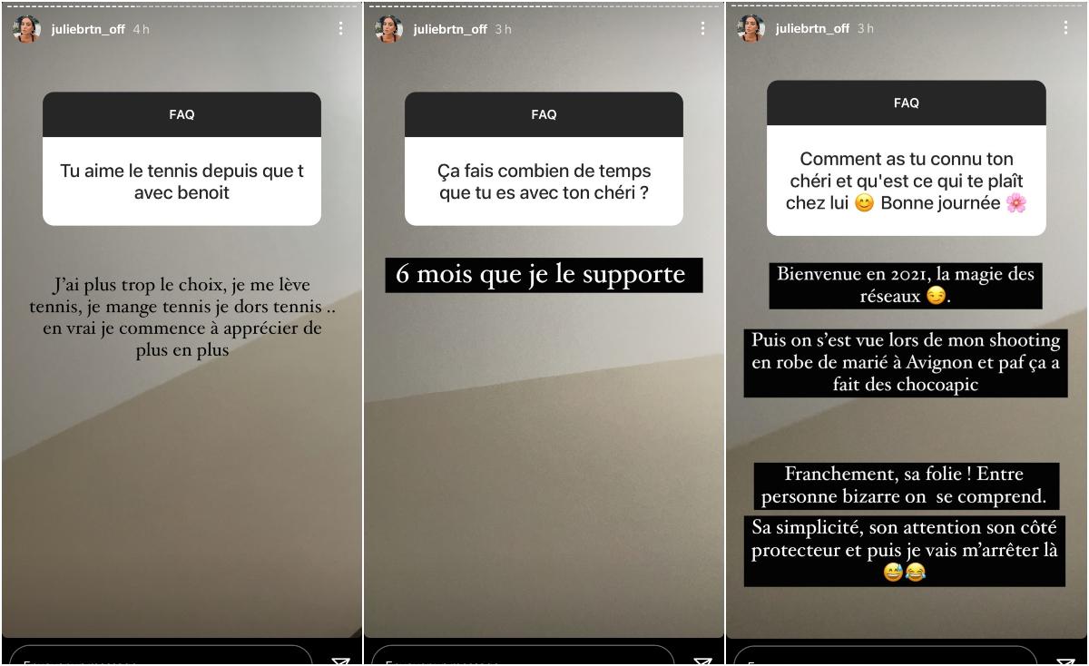 Julie Bertin : Elle dévoile la façon dont elle a rencontré son chéri Benoît Paire