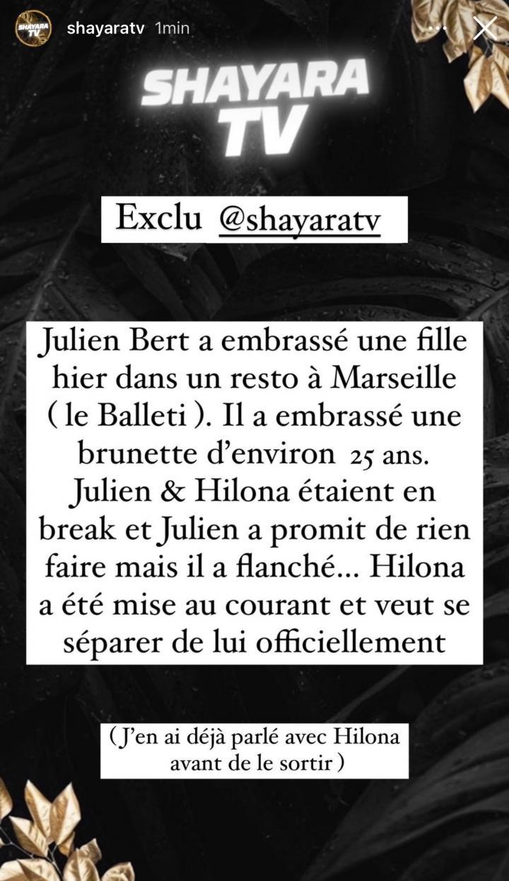 Julien Bert et Hilona Gos définitivement séparés? Il a été surpris avec une autre femme