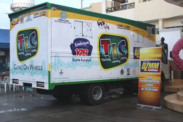 DZMM TLC's clinic-on-wheels parked in front of the Angono Municipal Hall
