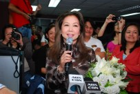 TV Patrol anchor Korina Sanchez gives a short message to the news staff