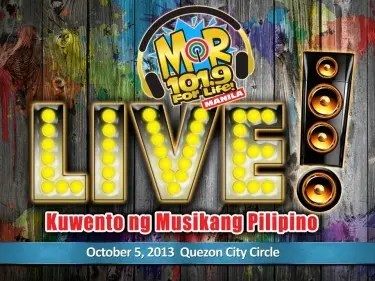 'MOR 101.9 For Life' will stage a free concert titled 'MOR LIVE_Kwento ng Musikang Pilipino' on October 5