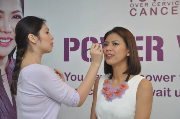 Make Up Artist Mica Tuaño during  her demo with Host Suzi Entrata at the Power Over Cervical  Cancer, Power Wives Event 6
