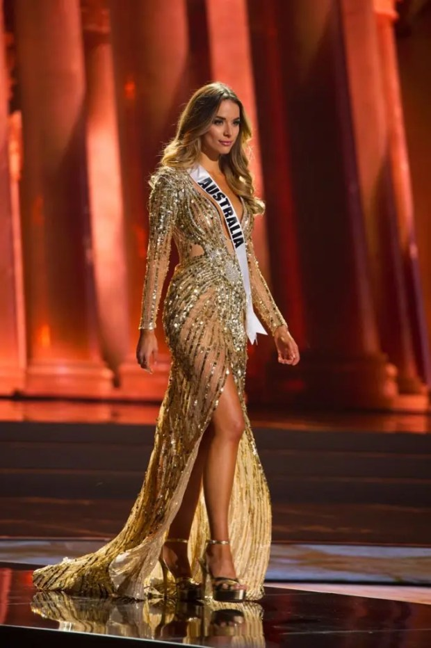 Monika Radulovic, Miss Australia 2015, competes on stage in her evening gown during The 2015 MISS UNIVERSE® Preliminary Show at Planet Hollywood Resort & Casino Wednesday, December 16, 2015. The 2015 Miss Universe contestants are touring, filming, rehearsing and preparing to compete for the DIC Crown in Las Vegas. Tune in to the FOX telecast at 7:00 PM ET live/PT tape-delayed on Sunday, Dec. 20, from Planet Hollywood Resort & Casino in Las Vegas to see who will become Miss Universe 2015. HO/The Miss Universe Organization