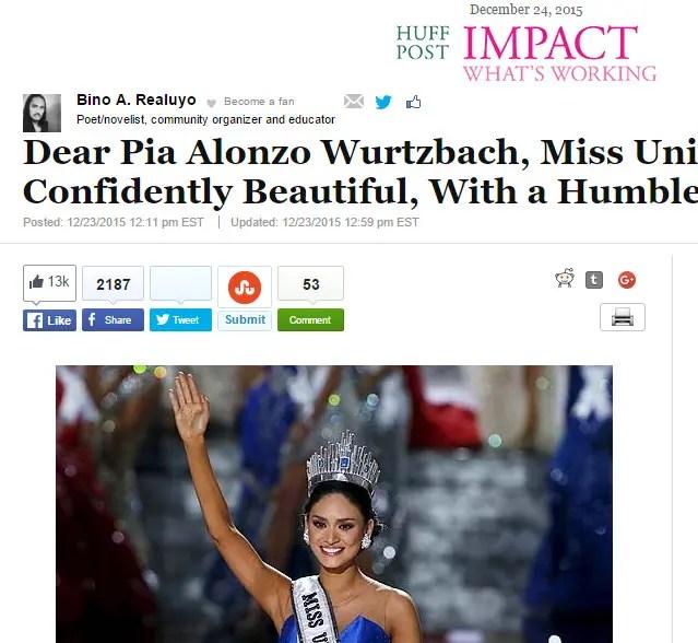 Great Read: An Open Letter to Miss Universe 2015 Pia Wurtzbach