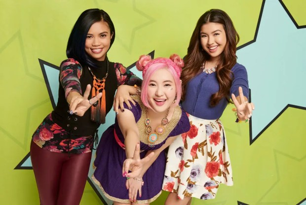 "Megan Lee (Sun Hi) with co-stars Louriza Tronco (Jodi) and Erika Tham (Corki) in ""Make It Pop"" Season 2"