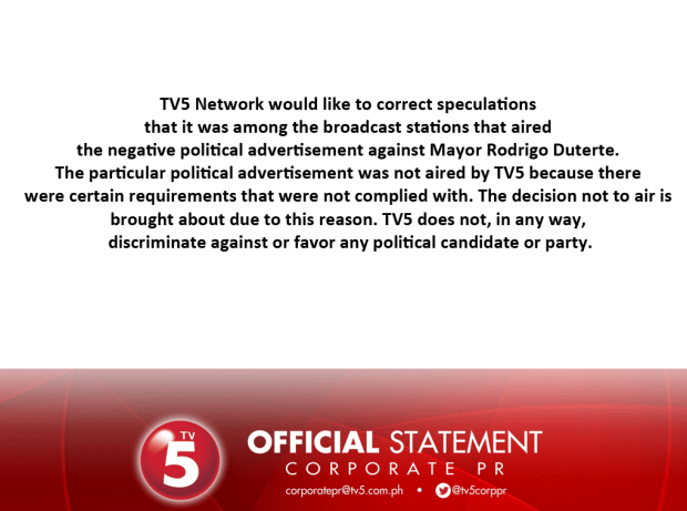 TV5 Statement