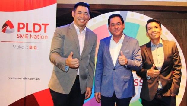 From left: AVP and Head of SME Community Engagement Services and Marketing Communications Gabby Cui, VP and Head of PLDT SME Nation Mitch Locsin and AVP and Head of SME Fixed Product Marketing Amil Azurin