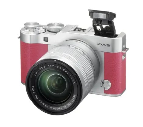 X-A3_Pink_16-50mm_frontleft_flash pop-up
