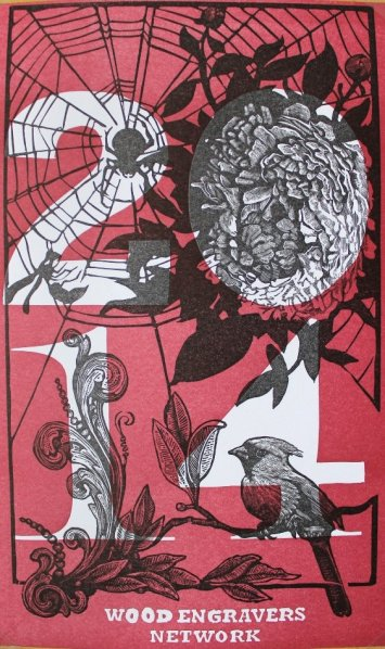 2-color relief engraving, 7.5 x 5 inches, 2013. Exchange Title/Theme: Calendar Organized by: Eric Gulliver Notes: Seasonal calendar cover reflecting the flora and fauna of Starpointe Studios