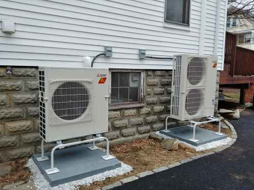 Ductless condensers outside house
