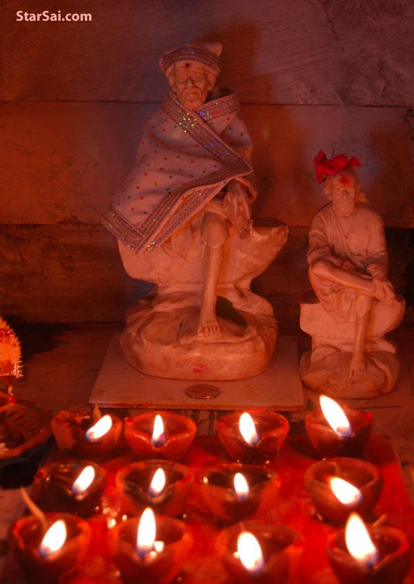 Shirdi Sai baba glowing like red sun to bless his sweet devotees
