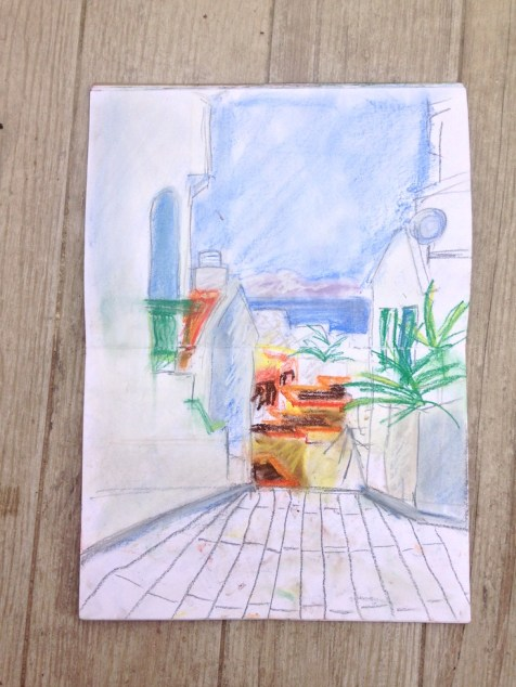 Sketching at the Neptuno Apartments, Costa Adeje, Tenerife.