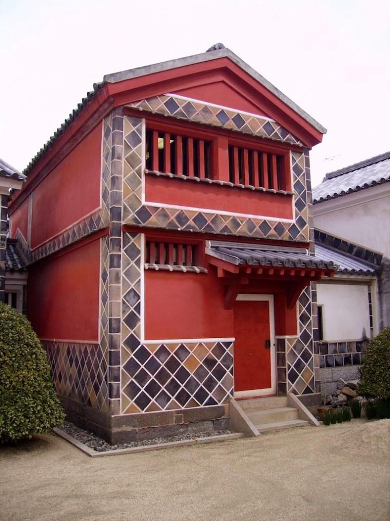 red house in Kurashiki, Japan.