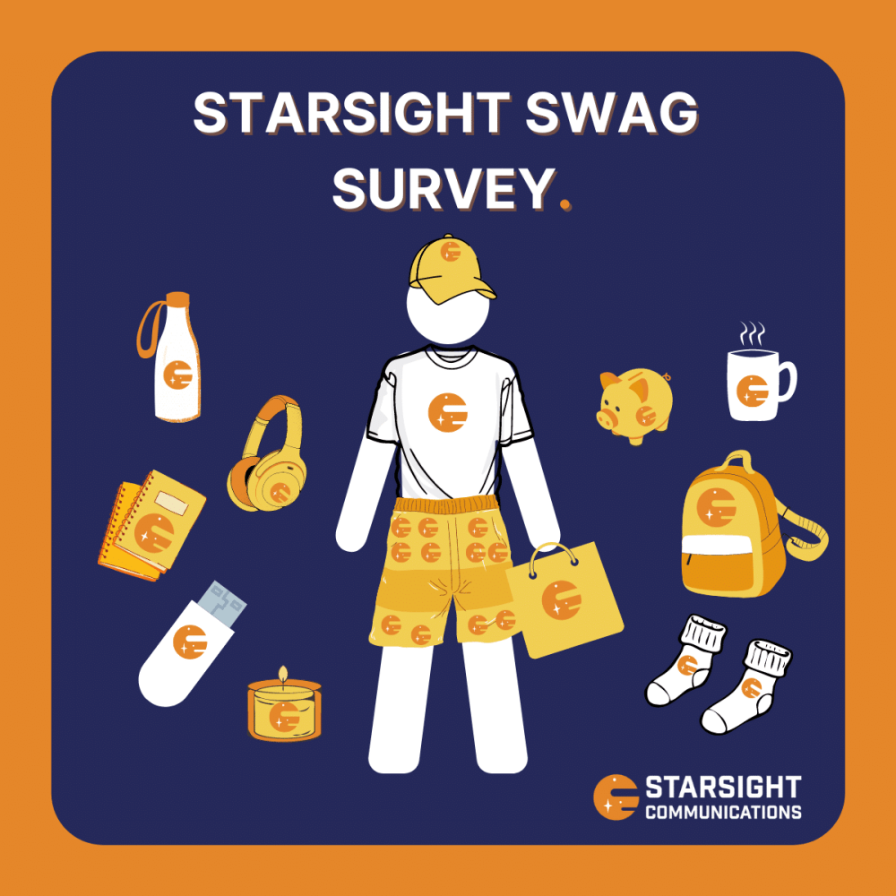A graphic of a Starsight Communications superfan wearing branded swag.