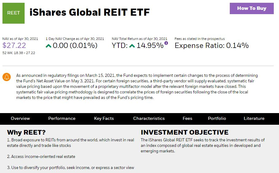 You can easily diversify your portfolio by investing in the iShares Global REIT ETF.
