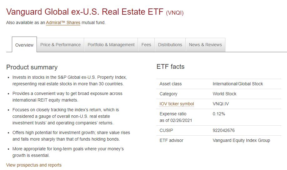 You can easily diversify your portfolio by investing in the Vanguard ex-US Real Estate ETF.