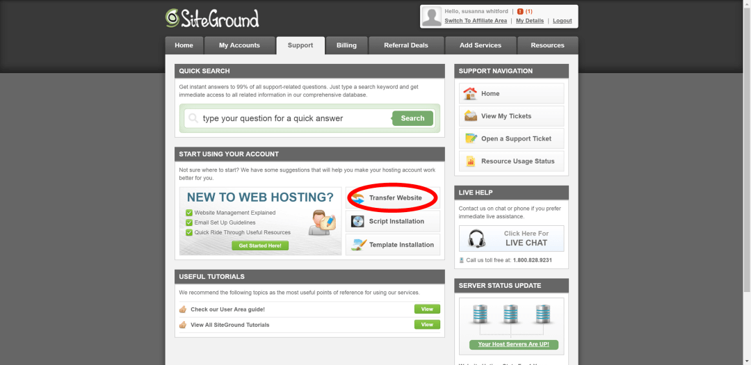 1 Transfer from Bluehost to Siteground with full cpanel backup