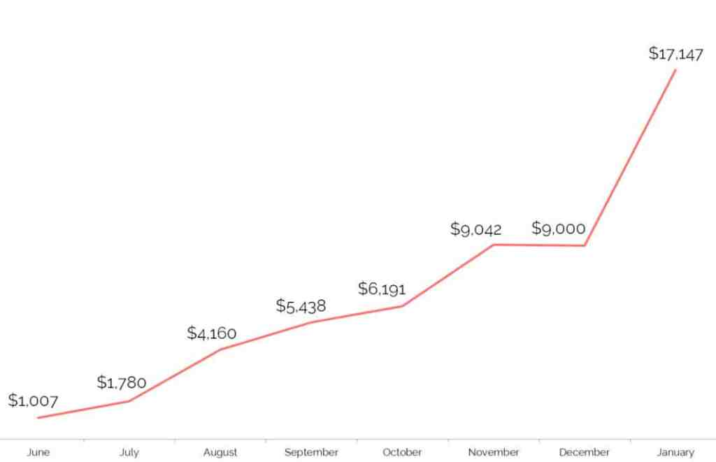 INCOME LINE CHART - start a blog the right way 2017