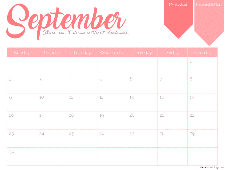 2018 calendar template free printable start a mom blog