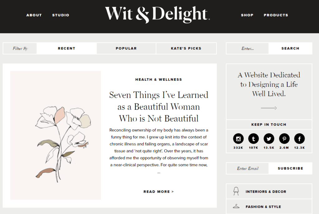 what is a lifestyle blog - example wit and delight