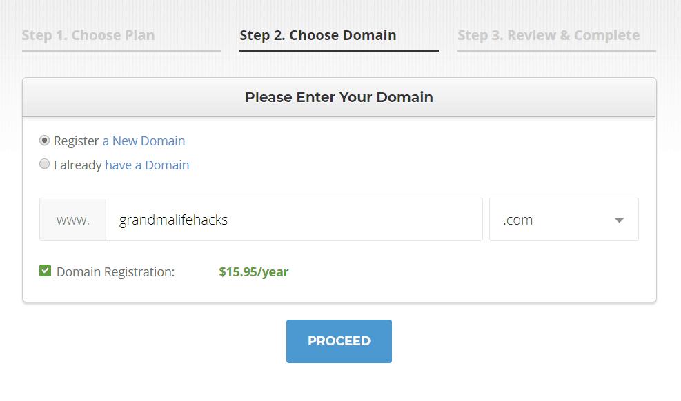 start a blog as a grandma register domain name