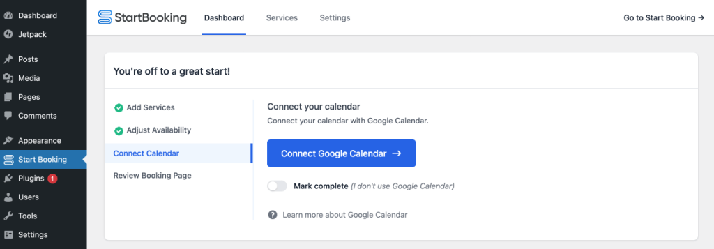 Connect Google Calendar with WordPress scheduling