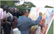 Roland Birutsya and Dr. Tumusiime Mutebire, Governor Bank of Uganda signing painting
