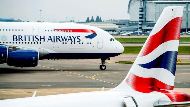 英國航空公司(British Airways)頂部的周轉,所有細節
