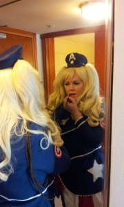 Actress Laura Stephens getting ready as Lolita Capt. America
