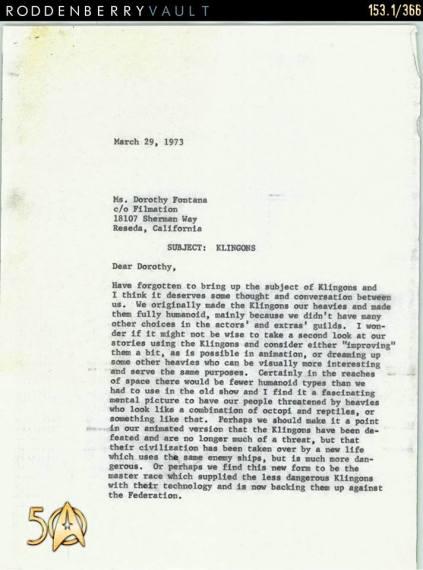 Letter - Klingons 1973 p1
