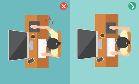 elbows too far away from body at your desk