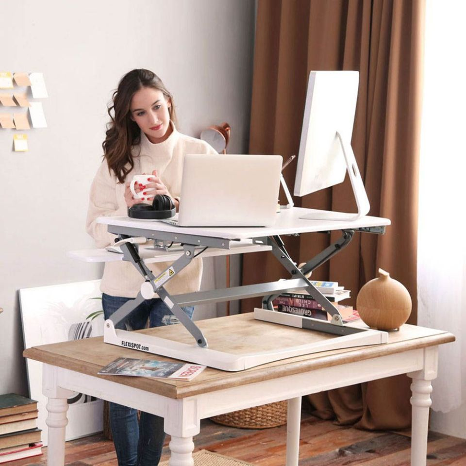 Adjustable Computer Desk White Electric Standing Desk- Adjustable Height Desk Adjustable Desks for Home Office Sit Stand Desk Frame /& 48 x 24 inches Table Top