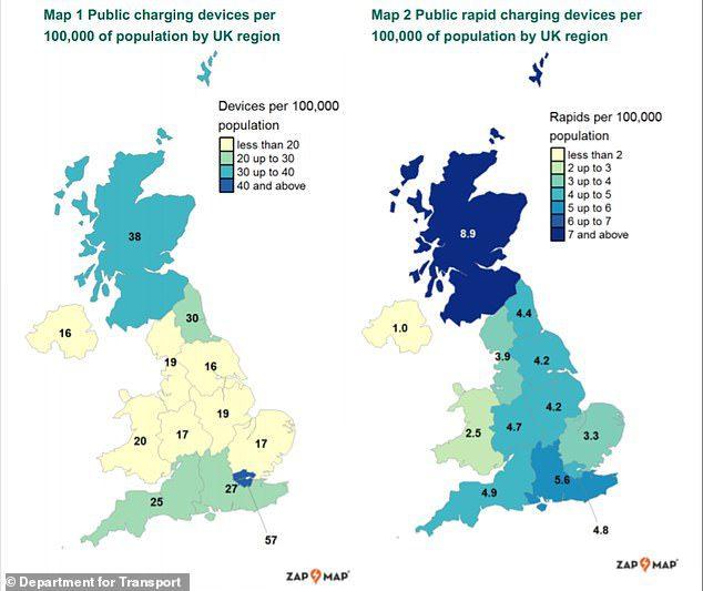 Počet nabíjacích staníc británia