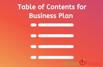 business plan table of contents