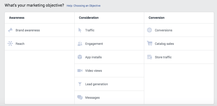 Facebook Advertising - You can choose your campaign objective.