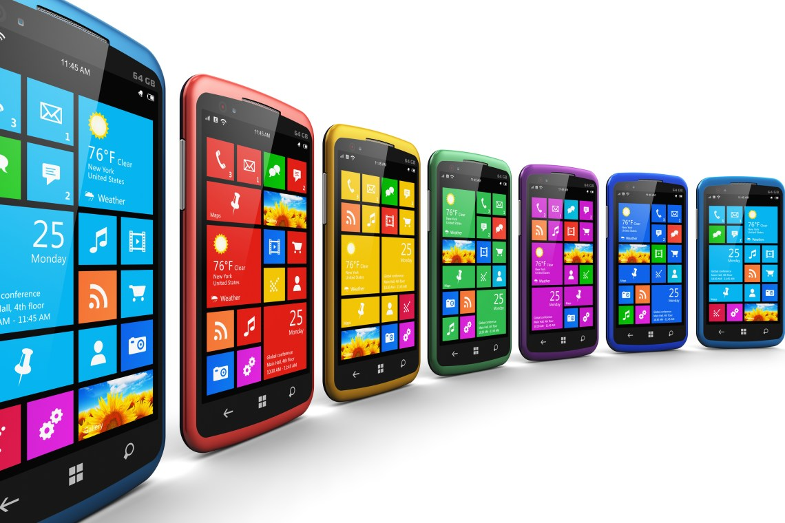 communications moder smartphones with touchscreen interface