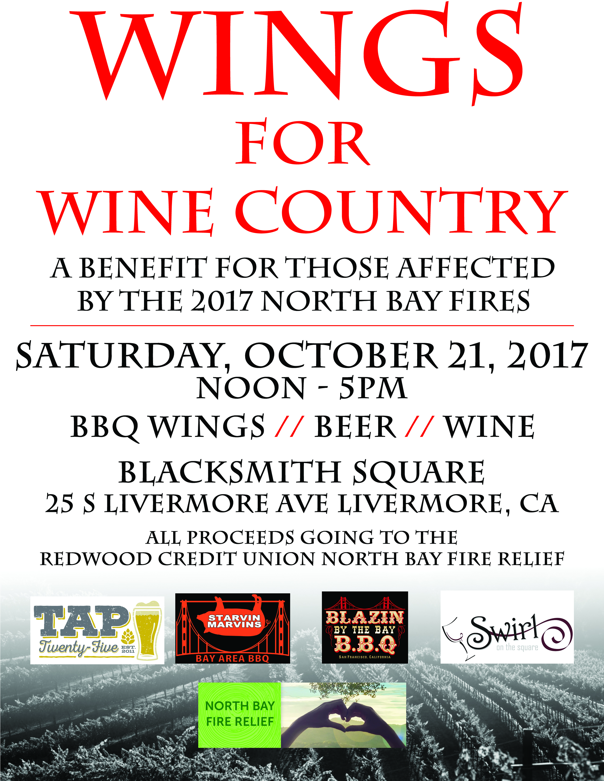 North Bay Fires Benefit: Wings For Wine Country