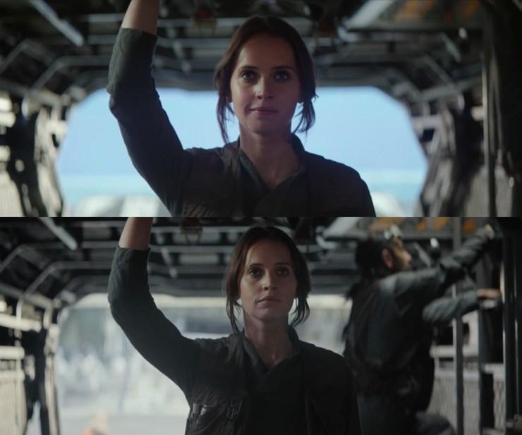 """Het bekende shot waar Jyn """"May the Force be with us"""" zegt in tegen haar team. Opvallend is dat dit een andere take lijkt te zijn dan die we in de Celebration Reel zagen. Jyn klinkt hier iets minder opgetogen, we zien Bodhi achter haar omhoog klimmen, en de achtergrond buiten het schip is veranderd."""