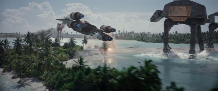 Het gevecht op Scarif vanuit de lucht gezien. Hoe gaan de rebellen zich hier tegen staande houden?