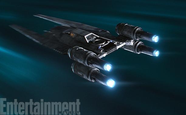De nieuwe U-Wing in hyperspace. Het schip past zo in de originele trilogie dankzij slim hergebruik van schiponderdelen. Zo is de cockpit gebaseerd op die van de Y-Wing, en de motoren zijn zo van een X-Wing geplukt.