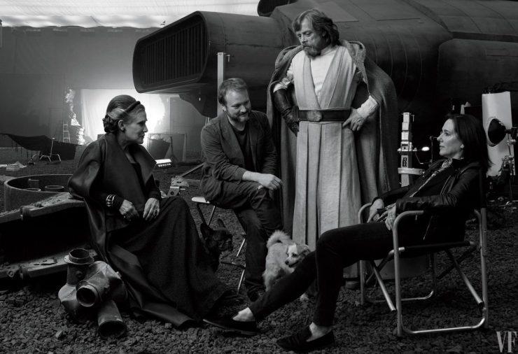 Een homage aan een klassieke behind the scenes Foto, met Carrie, Rian, Mark, Kathy en Millie.
