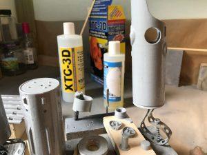 De onderdelen zijn hier voorzien van een laagje epoxy.