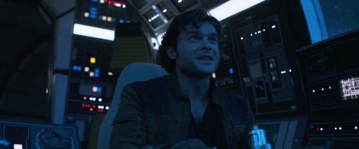 """Han in de cockpit van de Falcon met een variatie op een van de meest iconische Star Wars teksten.. """"I have a really good feeling about this"""". Is dit de eerste keer dat hij de Falcon bestuurt en is hij al helemaal verliefd op het schip?"""